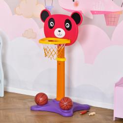 HOMCOM Cesta de Basquetebol Infantil 2 em 1 com Tiro ao Alvo Altura Ajustável Painel em forma de Urso 2 Bolas e 4 Dardos Apto para Crianças acima de 3 anos 60x46x100-160cm Multicolor