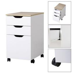 HomCom Cómoda tipo de Arquivo Móvel para Organizar Documentos no Escritório ou em Casa - Cor: Branco - 34x40x60.5cm