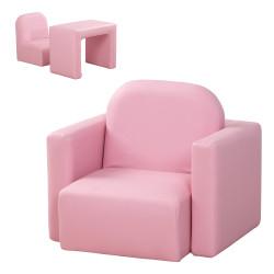 HOMCOM Conjunto 2 em 1 Poltrona infantil multifuncional conversível em cadeira e mesa para crianças acima de 3 anos 33x35x41 cm Rosa