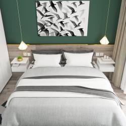 HOMCOM Conjunto de 2 mesas de cabeceira flutuantes com 1 gaveta e prateleira aberta montado na parede de madeira 35x32x22,5 cm Branco
