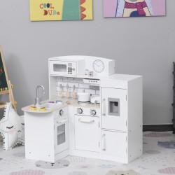 HOMCOM Cozinha de Brinquedo de Madeira para Crianças acima de 3 Anos Cozinha Infantil com Frigorífico Microondas Lavatório e 14 Acessórios 86x64x84,5cm Branco
