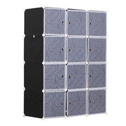 HOMCOM Guarda-roupa Modular Prateleiras De Plástico 12 Cubos com Portas para Armazenamento de Roupas Guarda-roupa Armário Organizador para Brinquedos de Armazenamento e Montagem de Livros em bricolage 111x47x145cm