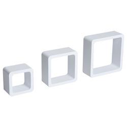 HomCom Jogo de 3 Cubos Prateleiras de Parede Estantes para Livros e Cds Prateleiras Flutuantes Decoração- Branco
