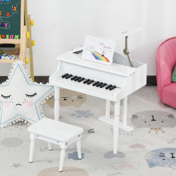 HOMCOM Mini piano infantil com banco 30 teclas com suporte para partitura 52x50x49 cm Branco