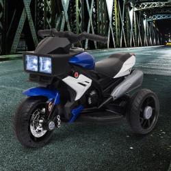 HOMCOM Motocicleta Elétrica Infantil com 3 Rodas para Crianças acima de 3 anos Triciclo com Pedal de Bateria 6V com Luzes Música Pneus Largos 86x42x52cm Azul