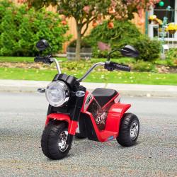 HOMCOM Motocicleta Elétrica Infantil com 3 Rodas Triciclo a Bateria 6V para Crianças de 18-36 Meses com Farol Buzina 72x57x56cm Vermelho