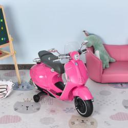 HOMCOM Motocicleta VESPA Elétrica acima de 3 Anos com Faróis Música 2 Rodas Auxiliares 108x49x75 cm Rosa