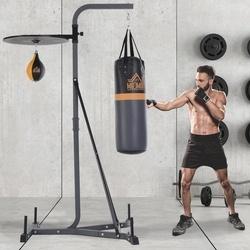 HOMCOM Sacos de boxe com suporte ajustável em altura em 4 níveis 166,5cm - 181,5cm inclui Velocidade da bola 104x156x202cm