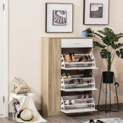 HOMCOM Sapateira de 3 Portas para 18-27 Pares de Sapatos com Gaveta e Armário para Entrada Dormitório 84x30x132 cm Madeira Natural