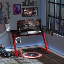 HOMCOM Secretária Gaming para Computador com Porta Copos Gancho para Fones de Ouvidos Suporte para Gamepad e 2 Orifícios Passa Cabos 122x66x76cm Preto e Vermelho