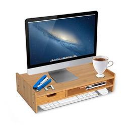 HOMCOM Suporte para Monitor de Bambu Secretária para Computador Portátil Organizador de Secretária 49x25,5x11,5 cm