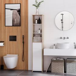 Kleankin Armário de banheiro alto com 1 porta gaveta e 3 estantes Prateleira ajustável para sala de estar de cozinha 32,6x30x171,2 cm Madeira natural e branco