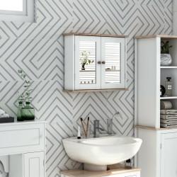 Kleankin Armário de banheiro montado na parede com espelho 2 portas Prateleira ajustável em 3 posições 56x14x46 cm Branco