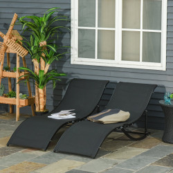 Outsunny 2 espreguiçadeiras dobráveis ergonômicas em forma de S com estrutura de alumínio Textilene para piscina terraço jardim 165x61x63 cm Preto