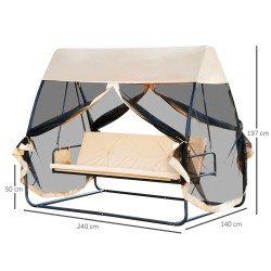 Outsunny Balanço de jardim de 3 lugares conversível em cama com rede mosquiteira Portas Espaço de armazenamento 240x140x197 cm Aço Máx. 300 kg creme