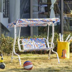 Outsunny Balanço de jardim infantil acima de 3 anos de 2 lugares com toldo ajustável em ângulo e cintos de segurança ao ar livre 110x70x110 cm Azul