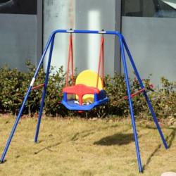 Outsunny balanço para crianças acima de 6 meses com suporte de metal e cinto de segurança com fivela para exterior máx. 30kg 140x110x120cm Multicolor