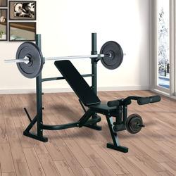 Outsunny Banco de Musculação Aço Preto fitness Esportes indoor#Euficoemcasa 175x98x130cm