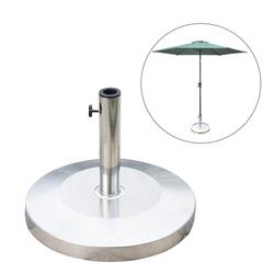 Outsunny Base Parasol para Parasol Aço Inoxidável Prata Φ48 x 36cm