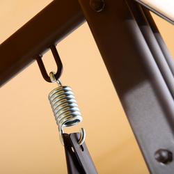 Outsunny Cadeira de Balanço Jardím 3 Lugares com Teto Bandeja para Bebida Aço - Bege- 120.5x207x174cm