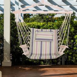 Outsunny Cadeira de rede suspensa listrada com almofada encosto apoio de cabeça 100x106 cm máx. 105 kg