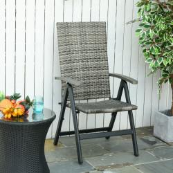 Outsunny Cadeira Dobrável de vime com 5 Posições de Alumínio para Varanda Jardim Carga 160 kg 59x68x107 cm Cinza