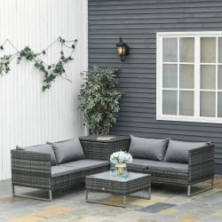 Outsunny Conjunto de 4 Móveis de vime para Jardim com 2 Sofás Duplos Mesa central mesa de baú e almofadas removíveis 132x69x64 cm Cinza
