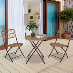 Outsunny Conjunto de mesa e 2 cadeiras dobráveis de vime para jardim Estrutura de aço Φ60x71 cm e 46x56x83 cm Madeira natural