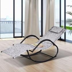 Outsunny Espreguiçadeira de jardim cinza Cadeira de balanço com braços para exterior