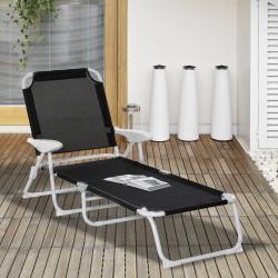 Outsunny Espreguiçadeira de jardim reclinável e dobrável com encosto ajustável em 4 posições Armação de metal textilene 160x66x80 cm Preto