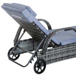 Outsunny Espreguiçadeiras x2 com Mesa de Vime Chaise Longue para Jardim Pátio Cadeira Cinzenta de exterior com Almofadas Acolchadas