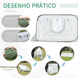 Outsunny Estufa de jardim Pop-up com 4 portas portátil bolsa de transporte para plantas Flores Aço 240x120x75 cm Branco