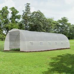 Outsunny Estufa de jardim Tipo túnel para cultivo com 12 janelas e porta de enrolar Aço e PE 800x300x200 cm Branco