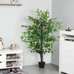 Outsunny Ficus artificiais com 145 cm de altura 756 folhas com vaso para decoração interior e exterior verde