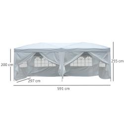 Outsunny Gazebo Pavilhão para Jardim Camping festa Eventos loja Casamento - Cor Branco - 6x3m