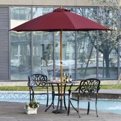 Outsunny Guarda-sol com poste de madeira destacável ângulo ajustável Sistema de polia de ventilação para jardim varanda Piscina Ø257x253 cm Marrom