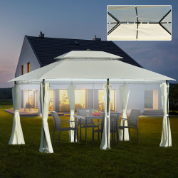 Outsunny Pérgola de jardim 4x3 m com teto duplo 6 cortinas laterais luz LED com painel solar para pátio terraço cor creme
