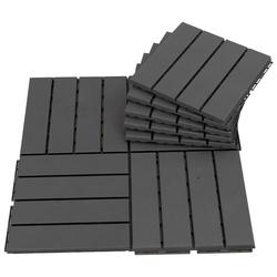 Outsunny Pisos para áreas externas 30x30 Pacote de 9 peças Cobre 0,81 m² Preto