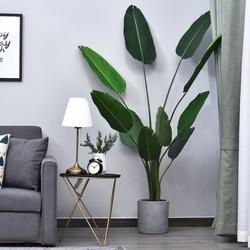 Outsunny Planta artificial com grandes folhas de palmeira Árvore realista com pote 10 folhas Ф18x180cm para decoração de interiores e exteriores