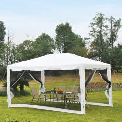 Outsunny Tenda Gazebo de jardim 4x3 m com redes mosquiteiras laterais de telhado duplo e portas com fecho preto e branco