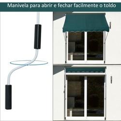 Outsunny Toldo Ajustável para Portas ou Janelas Pernas Telescópicas 200x150cm Verde