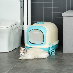 PawHut Caixa de Areia para Gatos com Alça de Transporte Duplo Fundo Bandeja Removível Pá e Filtro de Carvão Ativo 63x43x43cm Bege e Verde