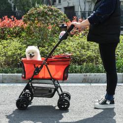 PawHut Carrinho para para animais de estimação dobrável e removível em aço tecido Oxford rodas giratórias freios Janela para gatos pequenos Cães 67x45x96 cm Vermelho