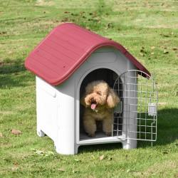 PawHut Casota para Cães com Porta Removível Base Elevada 3 Respiradouros e Janela Casota de Cães para Interior e Exterior 59x75x66cm Cinza e Vermelho