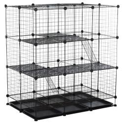 PawHut Gaiola para animais pequena DIY com 4 portas 6 bandejas 111x75x119 cm Preto