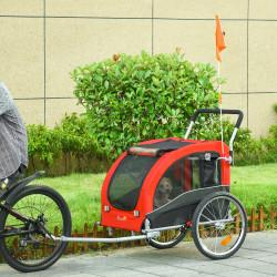 PawHut Reboque de Bicicleta para Cães Dobrável Carrinho de Transporte para Animais de Estimação com 1 Bandeira 4 Reflectores e Capa de Chuva 162x74x85cm Vermelho