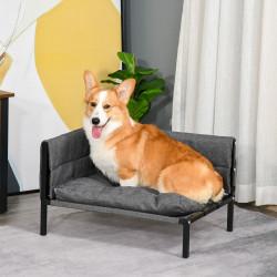 PawHut Sofá Cama elevado para animais de estimação 63,5x49x38,5cm Transpirável com Almofada Removível e Lavável para Cães Pequenos e Médios Carga 15kg Cinza