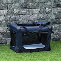 PawHut Transportadora para animais de estimação Portátil e Transpirável Dobrável com Almofada 3 Portas e Janela de Malha 2 Bolsos 60x41,5x41cm Azul Escuro