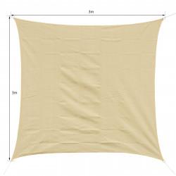 Toldo Vela 3x3m quadrada cor areia de polietileno HDPE 185 g/m²