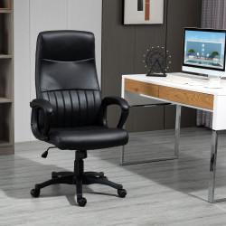 Vinsetto Cadeira de Escritório Ergonômica Basculante e Giratória 360° com Altura Ajustável Encosto Alto e Apoio para os Braços Pele Sintética 61,5x66x113-123cm Preto